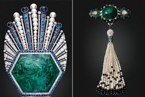 brooch emeraid brooch pearl