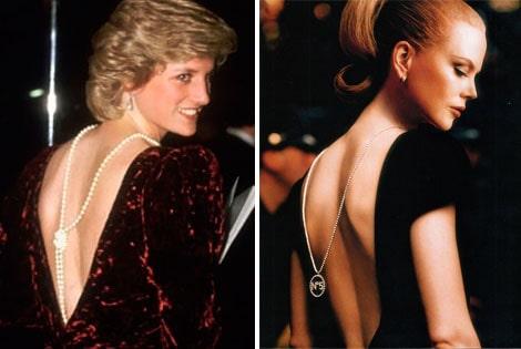 """Леди Диана — длинная нитка жемчуга, завязанная на конце узлом, становится прекрасным сотуаром для платья с открытой спиной. Николь Кидман  в рекламе духов """"Шанель № 5"""""""