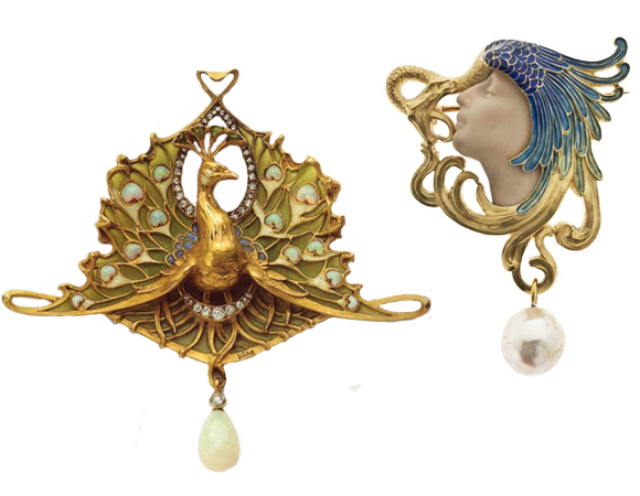 peacocks art nouveau