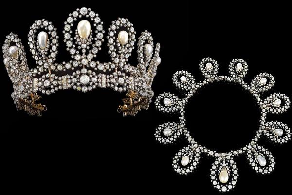Savoyard pearl and diamond tiara